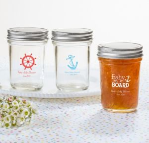 Ahoy Nautical Personalized Baby Shower Mason Jars (Printed Glass)