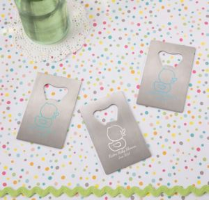 Bubble Bath Personalized Baby Shower Credit Card Bottle Openers - Silver (Printed Metal)