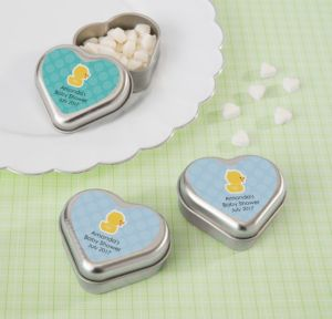 Bubble Bath Personalized Baby Shower Heart-Shaped Mint Tins with Candy (Printed Label)