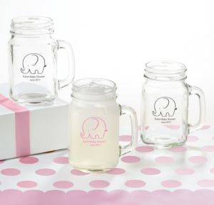 Little Peanut Girl Personalized Baby Shower Mason Jar Mugs (Printed Glass)