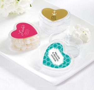 Personalized Heart-Shaped Plastic Favor Boxes <br>(Printed Label)</br>