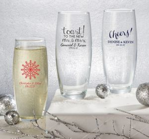 Personalized Stemless Champagne Flutes <br>(Printed Glass)