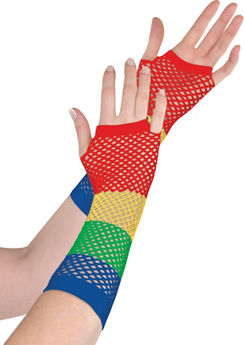 Long Rainbow Fishnet Gloves Deluxe