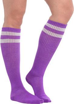 Purple Stripe Athletic Knee-High Socks