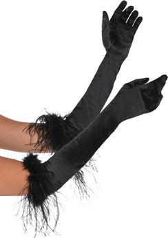 Black Feather Opera Gloves