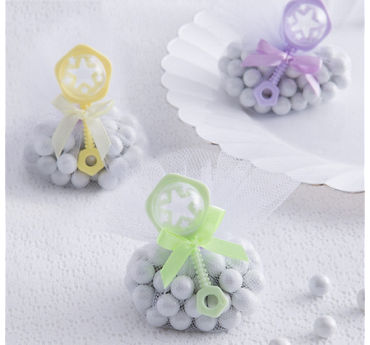 Multicolor Rattle Baby Shower Favor Charms 8ct