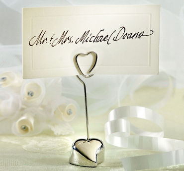 Silver Heart Place Card Holder