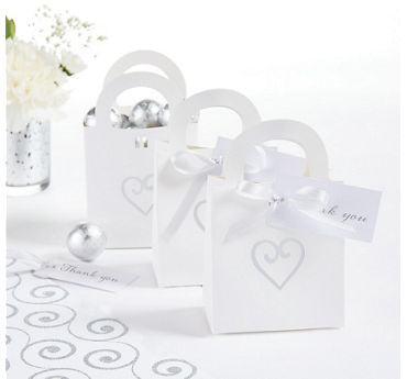 White Heart Wedding Favor Bag Kit