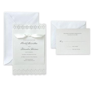 White Flower Printable Wedding Invitations Kit 50ct