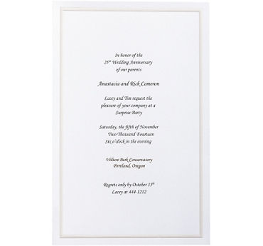 Embossed White Border Printable Wedding Invitations 100ct