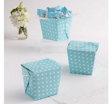 Blue Polka Dot Take-Out Style Favor Boxes 12ct