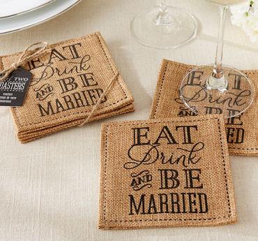 Burlap Eat Drink & Be Married Wedding Coasters