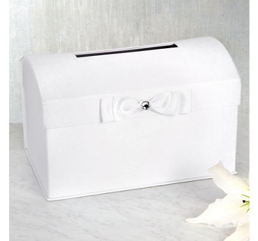 White Wedding Card Holder Box with White Bow