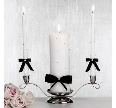 Black Bow Unity Candle Set 3pc