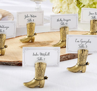 Gold Cowboy Boot Place Card Holders