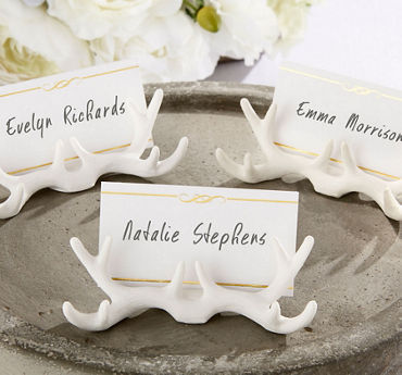 White Antler Place Card Holders