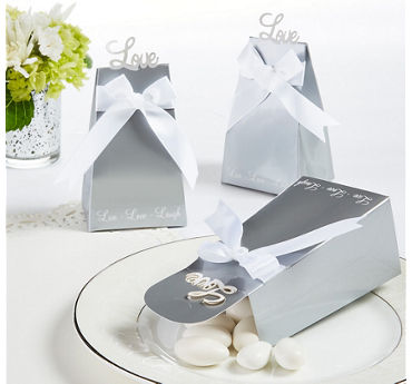 Love Silver Favor Boxes