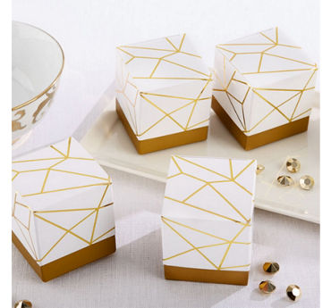 White & Gold Geometric Favor Boxes