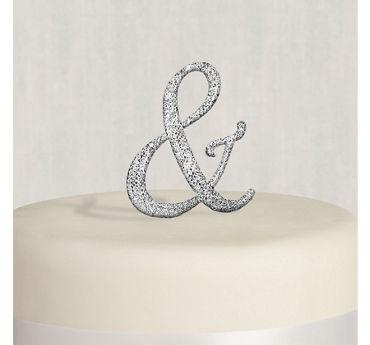 Rhinestone Silver Ampersand Cake Topper