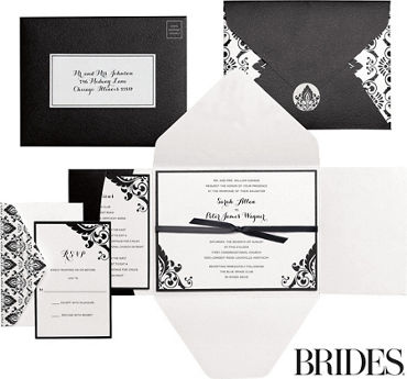 Black & White Damask Printable Wedding Invitations Kit 30ct