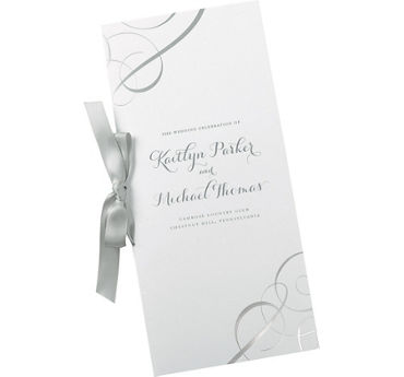 Metallic Silver Swirl Printable Wedding Programs Kit 50ct