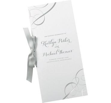 Metallic Silver Swirl Printable Wedding Programs Kit 50ct