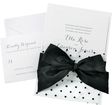Black Polka Dot Mesh Pocket Printable Wedding Invitations Kit 25ct