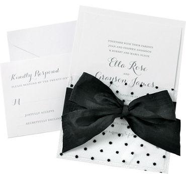Black Polka Dot Mesh Pocket Printable Wedding Invitations Kit 25ct