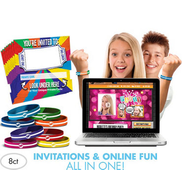 Original Invite Bandz Online Party Invitation Wristbands for 8
