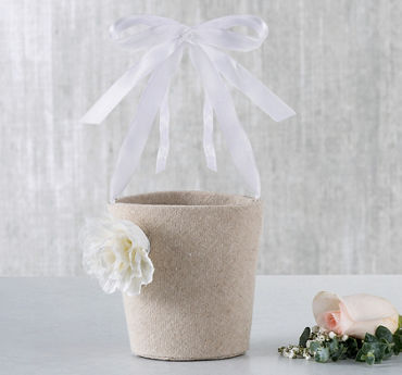 Burlap Flower Girl Basket with Ribbon Handle