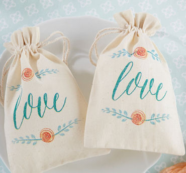 Watercolor Floral Muslin Favor Bags