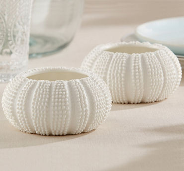 White Sea Urchin Tealight Candle Holders
