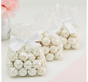 White Polka Dot Treat Bags with Bows 12ct