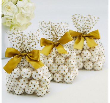 Gold Polka Dot Treat Bags with Bows 12ct