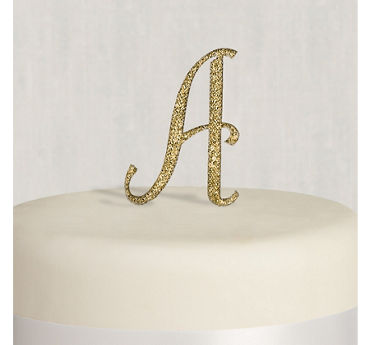 Rhinestone Gold Monogram A Cake Topper