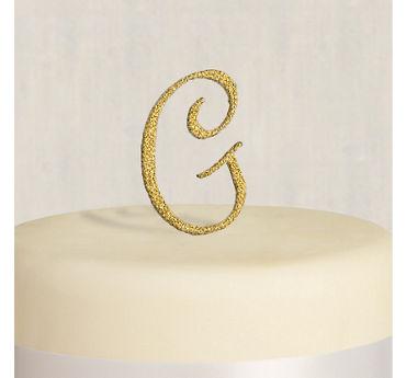 Rhinestone Gold Monogram G Cake Topper