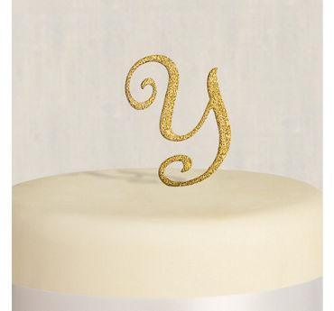 Rhinestone Gold Monogram Y Cake Topper