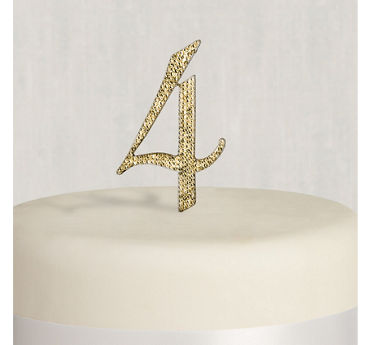 Rhinestone Gold Number 4 Cake Topper