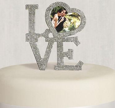 Rhinestone Silver Love Picture Frame Cake Topper