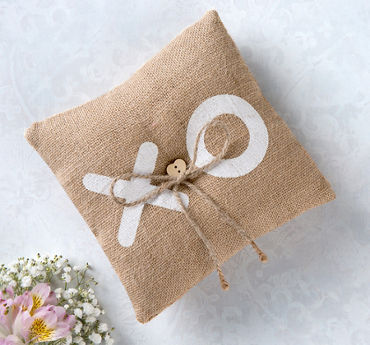 XO Burlap Ring Bearer Pillow