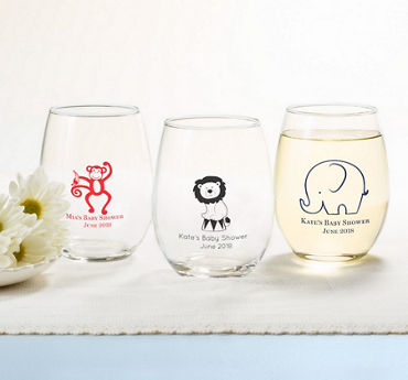Baby Boy Personalized Baby Shower Stemless Wine Glasses 15oz (Printed Glass)
