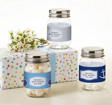 Baby Boy Personalized Baby Shower Mini Glass Mason Jars (Printed Label)