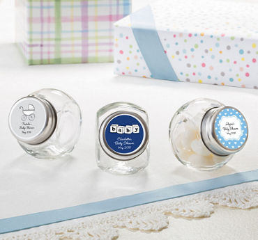 Baby Boy Personalized Baby Shower Glass Candy Jars (Printed Label)