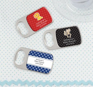 Baby Boy Personalized Baby Shower Bottle Openers - Silver (Printed Epoxy Label)