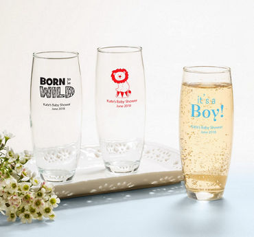 Baby Boy Personalized Baby Shower Stemless Champagne Flutes (Printed Glass)