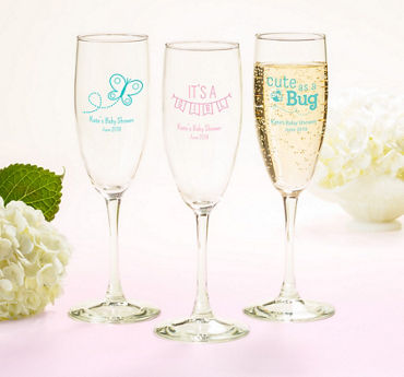 Baby Girl Personalized Baby Shower Champagne Flutes (Printed Glass)