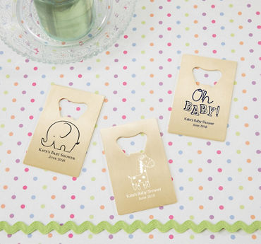 Gender Neutral Personalized Baby Shower Credit Card Bottle Openers - Gold (Printed Metal)