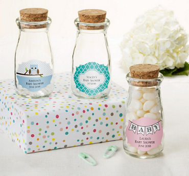 Gender Neutral Personalized Baby Shower Glass Milk Bottles with Corks (Printed Label)
