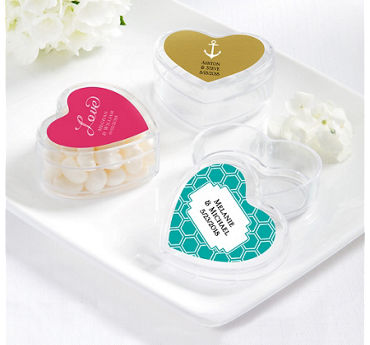Personalized Heart-Shaped Plastic Favor Boxes (Printed Label)