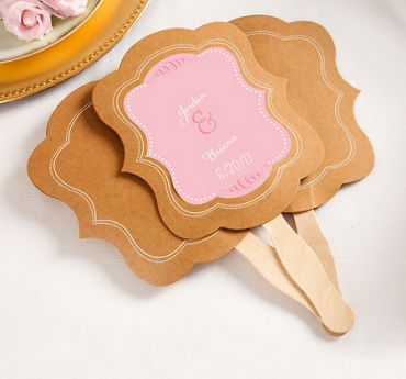 Personalized Kraft Wedding Fans (Printed Label)